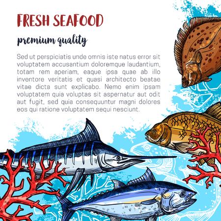 Verse zeevruchtenaffiche en de vangst van vissersvissen van bot, marlijn of karper en haringen. Vector vis of zeevruchten ontwerp van zalm, snoeken of sprotten en makreel voor markt of restaurant