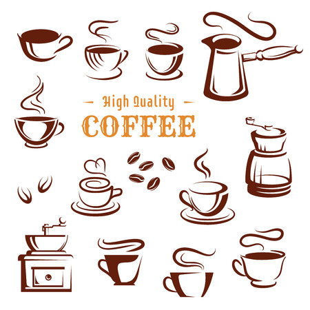 Coffee cups and makers icons for coffeehouse, cafeteria or cafe. Hot chocolate mug, strong espresso or latte macchiato and americano steam, turkish cezve and retro grinder vector set for coffee shop