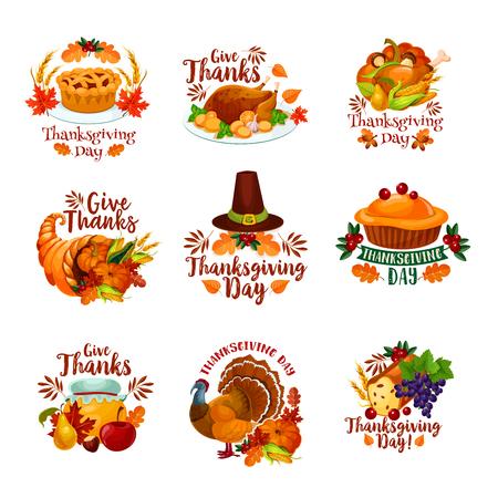 Thanksgiving day icons for seasonal autumn greeting card design. Turkey, fruit pie or maple leaf and oak acorn, mushroom and pumpkin cornucopia harvest, pilgrim hat and wine grape. Vector isolated set