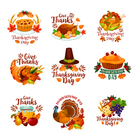 Erntedankfestikonen für Saisonherbstgrußkartendesign. Türkei, Obstkuchen oder Ahornblatt und Eicheneichel, Pilz- und Kürbisfülle Ernte, Pilgerhut und Weinrebe. Vektor isoliert Set