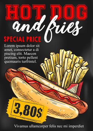 Fast food hot dog and french fries price card or cinema bistro menu design template.
