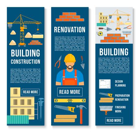 Ensemble de bannières de construction et de construction d'outils de travail de constructeur. Banque d'images - 86750021