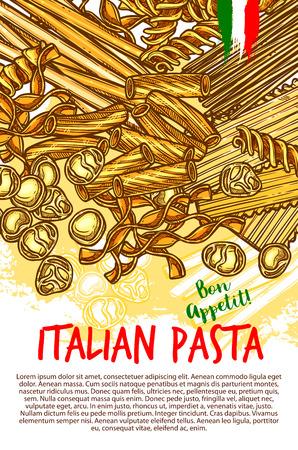 イタリアのパスタ スパゲッティ、ラザニアやフェットチーネ、ラビオリ、ファルファッレやタリアテッレ、パッパルデッレのポスター。