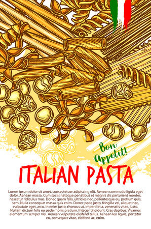 Italian pasta poster of spaghetti, lasagna or fettuccine and ravioli, farfalle or tagliatelle and pappardelle.