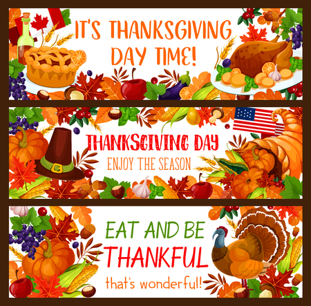 Autumn harvest holiday banner set for Thanksgiving Day celebration. Fall season leaf, turkey.