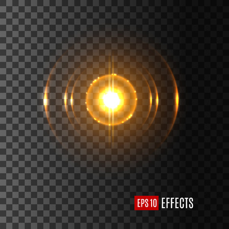 Licht lensflare-effect met glanzende flits. Vector geïsoleerd pictogram van glinsterende schittering van zonnestralen schittering of starlight balken van fonkelende ster met glanzende zonne-burst op transparante achtergrond. Stock Illustratie