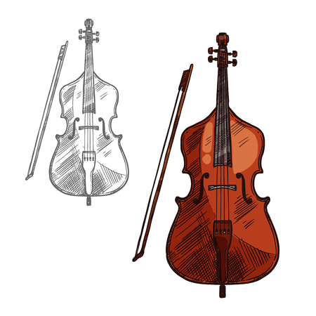 Contrabass musical instrument or violin with bow sketch icon. Illustration