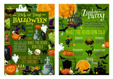 할로윈 파티 초대장 트릭이나 공포 휴일 축 하를위한 포스터 템플릿. 유령 랜 턴, 관 및 묘지, 유령 유령, 검은 고양이 또는 박쥐에 묘비의 벡터 할로윈