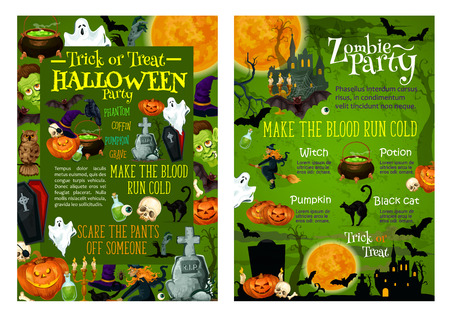 Halloween party invitation posters template for trick or treat horror holiday celebration. Vector Halloween design of paumpkin lantern, coffin and tombstone on cemetery, spooky ghost, black cat or bat