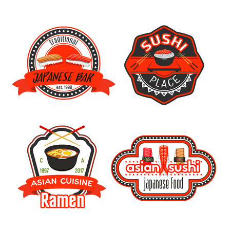Japanese sushi restaurant icons for menu or sign template. Vector design of Asian cuisine sushi roll, seafood soup and ramen noodles in bowl, salmon or tuna sashimi and tempura shrimp with chopstick Иллюстрация