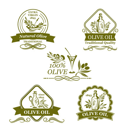 Olives icons for olive oil product labels or Italian cuisine design template. Vector isolated symbols of green olive tree branch, olive in cocktail glass for organic extra virgin oil bottle Иллюстрация