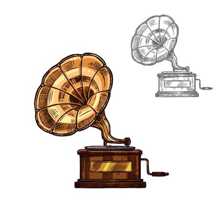 Sketch gramophone Illustration