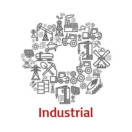 Icônes de l'agriculture industrielle Banque d'images - 87012028