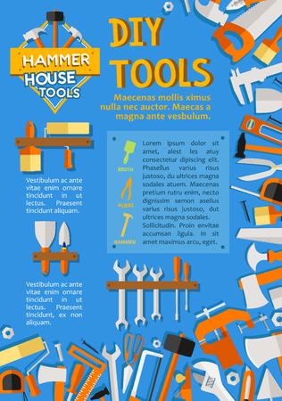 집 수리를위한 벡터 DIY 작업 도구 포스터 일러스트