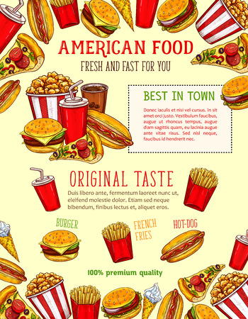 Fast food burgers, sandwiches and snack poster template for fastfood bistro or restaurant menu. Vector sketch cheeseburger, hamburger or hot dog, ice cream and popcorn dessert and coffee or soda drink