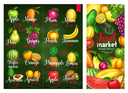 Fruits price or menu template for farm fruit market. Vector sketch exotic mango, apple or pear and grapes, watermelon or tropical banana and avocado, garden orange or kiwi and lemon citrus fruit Ilustração