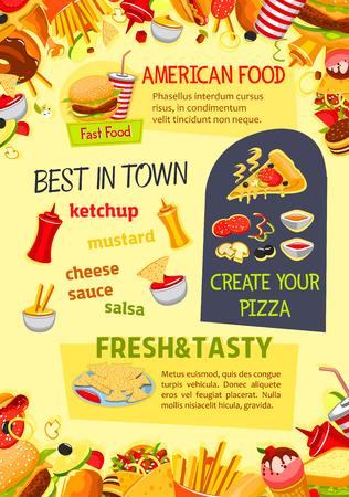 Fastfood-poster van pizza, hamburgers of sandwiches en fastfood-desserts. Vectormalplaatje van cheeseburger, hamburger of hotdog, roomijs en popcorn, koffie of sodadrank voor bistro of restaurantmenu