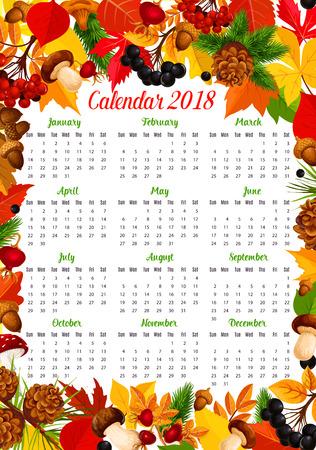 秋の自然のフレームを持つカレンダー 2018年テンプレート  イラスト・ベクター素材