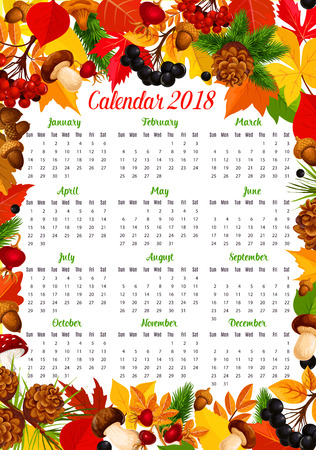 Calendar 2018 template with autumn nature frame