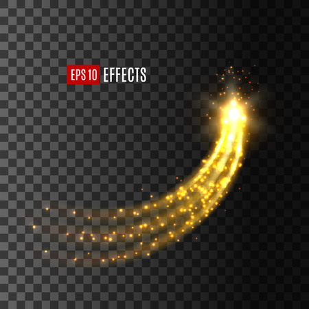 Light effect star comet glitter trail vector icon