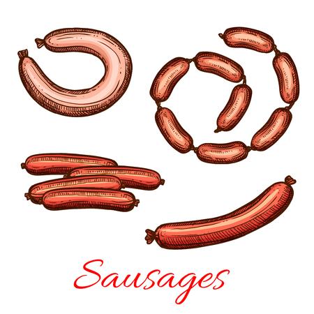 벡터 신선한 고기 소시지 제품 스케치 아이콘