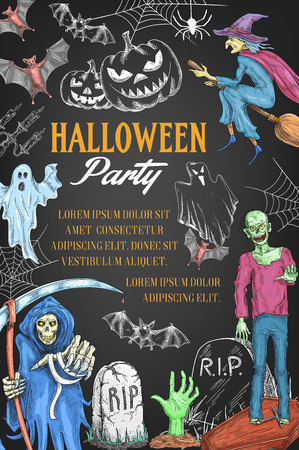Halloween holiday party witch vector sketch poster