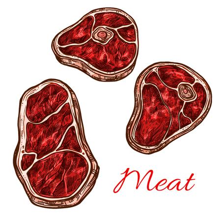 ベクター新鮮な肉ステーキ フィレ ベクター スケッチ