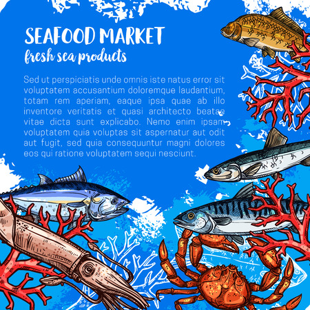 シーフードや魚の食品市場のベクトル ポスター  イラスト・ベクター素材