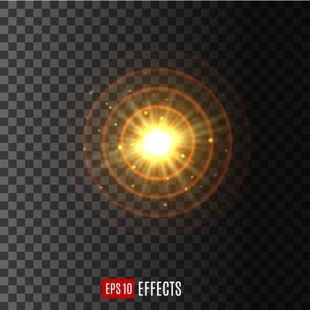 Licht circulaire glans lens flare effect vector pictogram Stock Illustratie