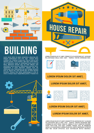 Vector building construction work tools poster