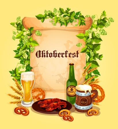 Vector beer poster for Oktoberfest German festival