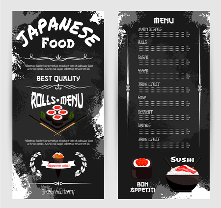 Vector menu for Japanese sushi restaurant