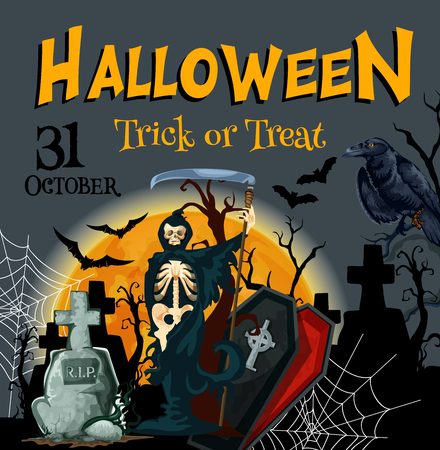 Halloween death party trick or treat vector poster