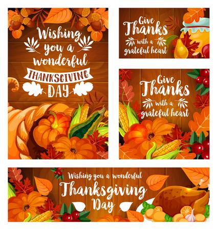 추수 감사절 인사말 카드 및 배너 서식 파일을 설정합니다. 가 시즌 리프와가 수확 호박, 옥수수 야채, 사과 과일, 칠면조, 크랜베리와 도토리 나무 배