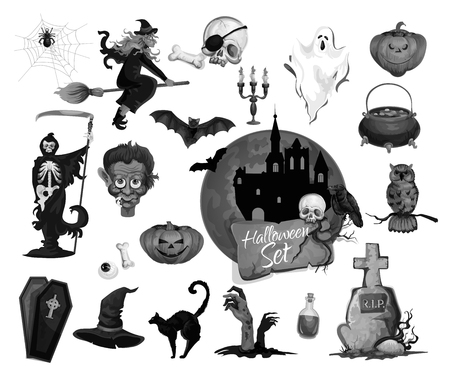 Halloween icons set for scary party holiday. Vector isolated set of vampire, witch on broom or dark house and crucifix cross on tomb grave, Halloween zombie skull and dead man, black cat or skeleton