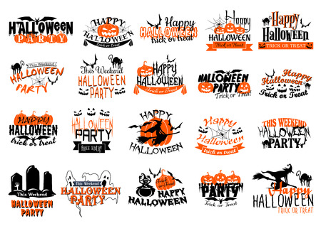 Happy Halloween icons set for party or holiday greeting card. Vector set of orange Halloween pumpkin lantern, ghost or zombie and vampire, witch at haunted graveyard, skeleton skull and coffin Illustration