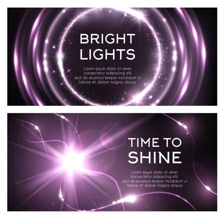 Lichtflits of bliksemschijnend effect van vonkenburst. Vector glinsterende felle lichten en sprankelende glitter stralen of ray met glanzende fonkelende sterren en radiale verlichting met paarse kleur achtergrond