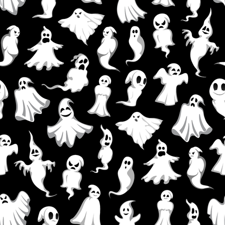 Halloween ghost seamless pattern background. Scary ghost and holiday spirit, flying monster, poltergeist and phantom with smiling and spooky skull. Horror ghost pattern for Halloween themes design