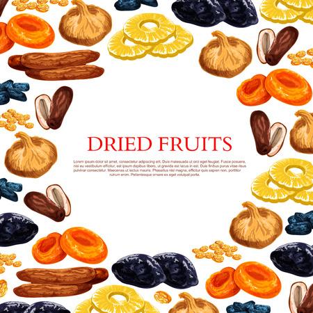 Vector poster van gedroogde vruchten en droge fruit snacks Stock Illustratie