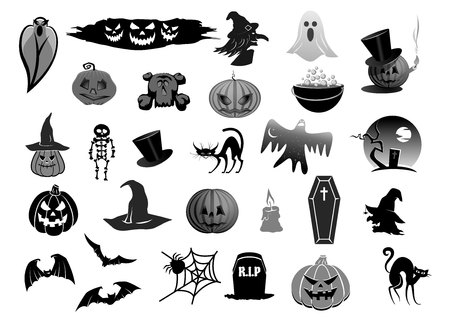 Icons for Halloween holiday party Illustration