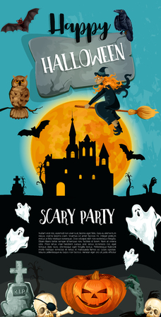 Halloween trick or treat party holiday celebration poster design. Vector Halloween monster ghost and skeleton skull on grave, pumpkin lantern in castle or witch on broom and black cats on tombstone Ilustração