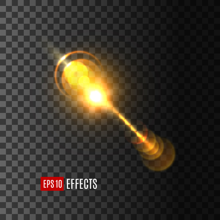 Light flash beam with lens flare effect on transparent background. Vector isolated icon of starlight or sun ray of glittering sunlight or solar space burst and twinkling light