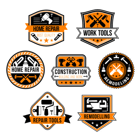 Réparation à domicile et construction des outils outils icônes. Vecteur isolé ensemble de marteau de menuiserie ou de scie et de foret ou de broyeur à bois, tournevis et truelle de rénovation de maison et pinceau Vecteurs