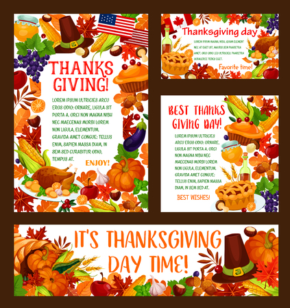 Thanksgiving Day greeting banner set. Autumn harvest holiday template with pumpkin vegetable, turkey, fallen leaf, pilgrim hat, cornucopia with apple fruit, grape, pie, honey, acorn and autumn foliage