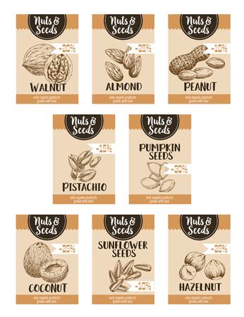 ナットは価格ポスターやカードのテンプレートです。ナットの店や市場のパーセント割引のココナッツ、アーモンドやピーナッツ、ピスタチオ、カ  イラスト・ベクター素材