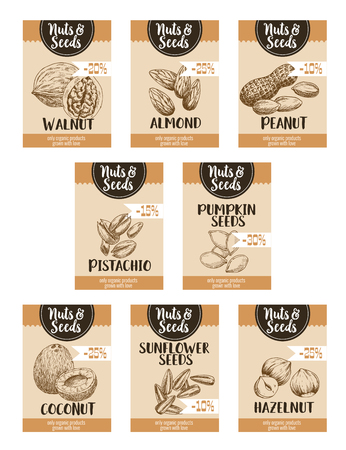 Nuts price posters or cards templates. Vector sketch set of coconut, almond or peanut and pistachio, pumpkin and sunflower seeds, walnut and hazelnut snack for nut shop or market percent discount Çizim