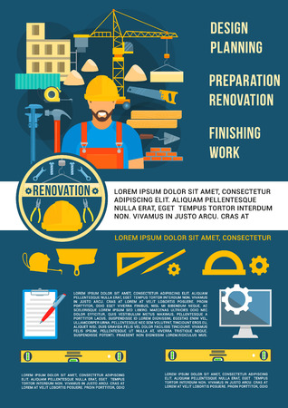 Home planning design and house construction poster. Vector design of engineering and interior designing work tools and building engineer with ruler, pencil or room layout drawing and architecture plan Illustration