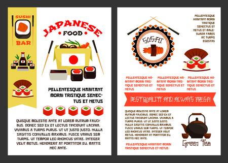 일본 음식 또는 초밥 reataurant 포스터 템플릿 메뉴에 대 한 설정. 물고기 아시아 스시 롤, 참치 사시미 또는 장 어 unagi 마 키와 쌀, 젓가락 및 녹차 냄비