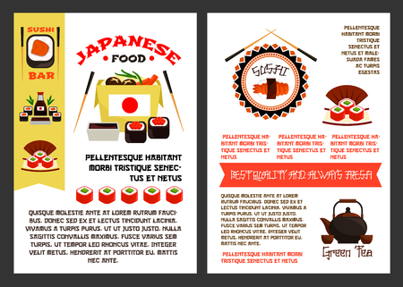 A Japanese food or sushi reataurant posters templates set for menu. Vector Asian cuisine design of fish sushi rolls, tuna sashimi or eel unagi maki and rice, chopsticks and green tea pot