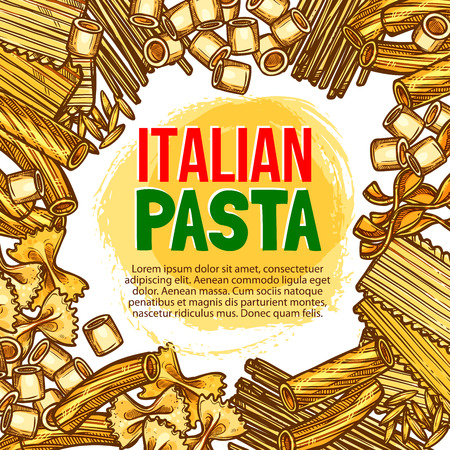 Pasta and Italian macaroni vector sketch poster Illustration